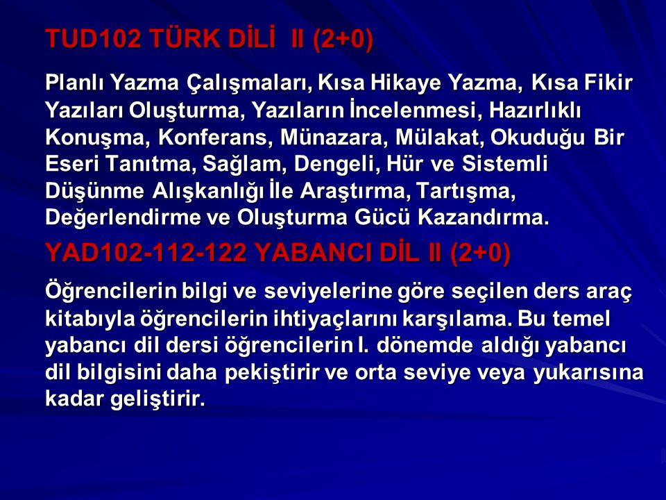 TUD102 TÜRK DİLİ II (2+0)