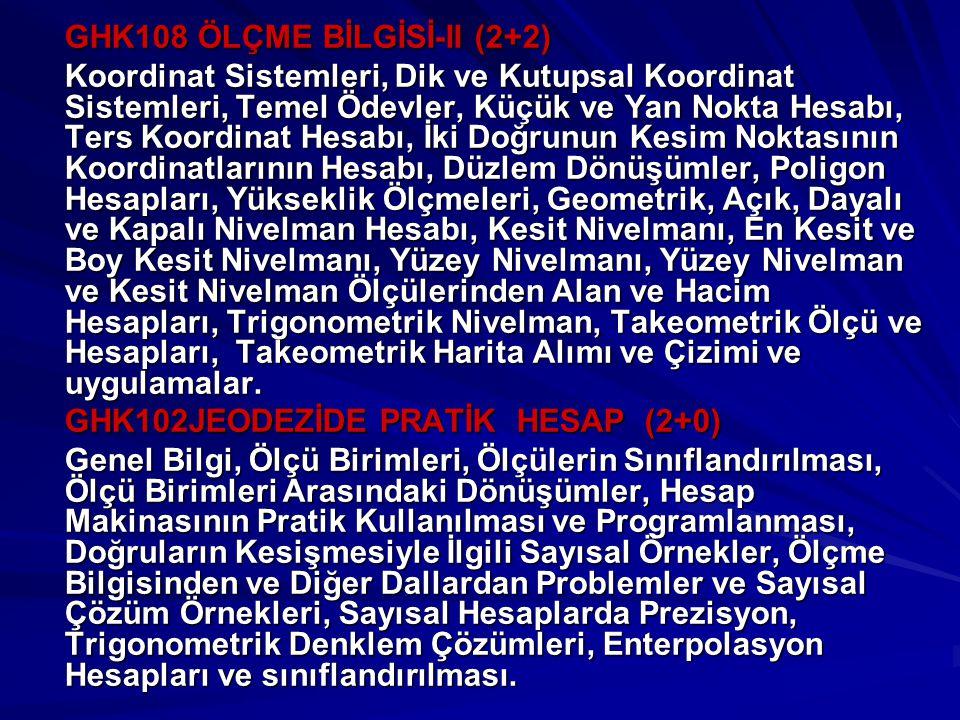 GHK108 ÖLÇME BİLGİSİ-II (2+2)