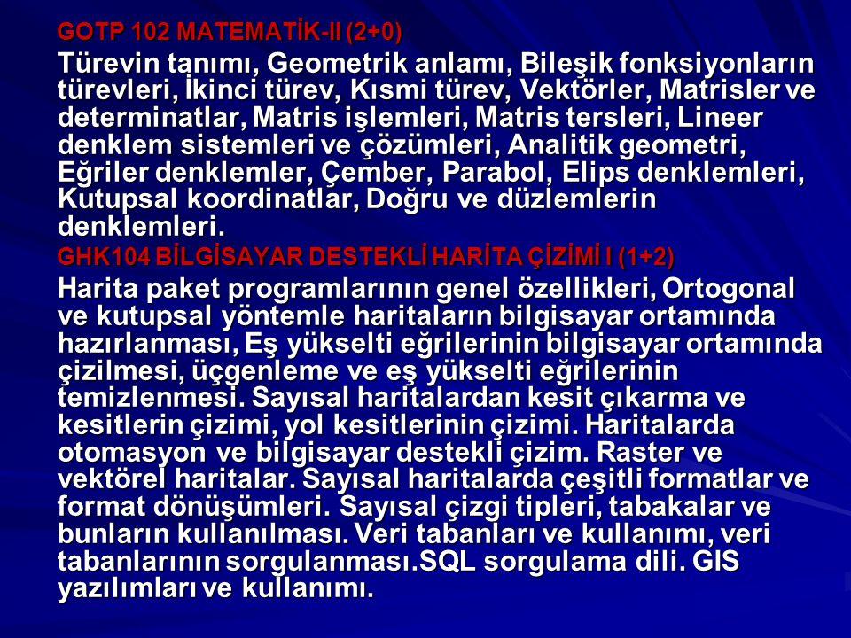 GOTP 102 MATEMATİK-II (2+0)