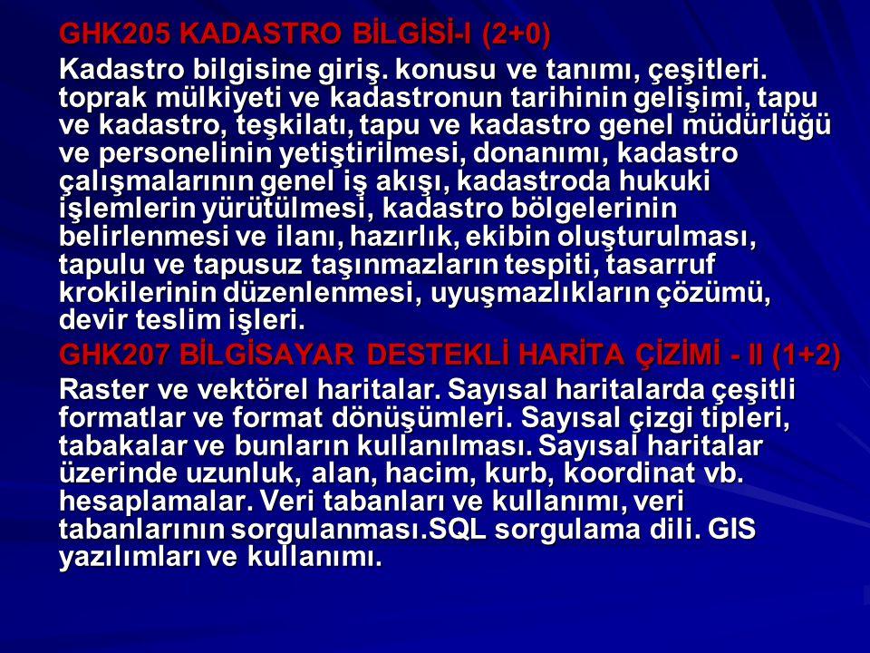GHK205 KADASTRO BİLGİSİ-I (2+0)