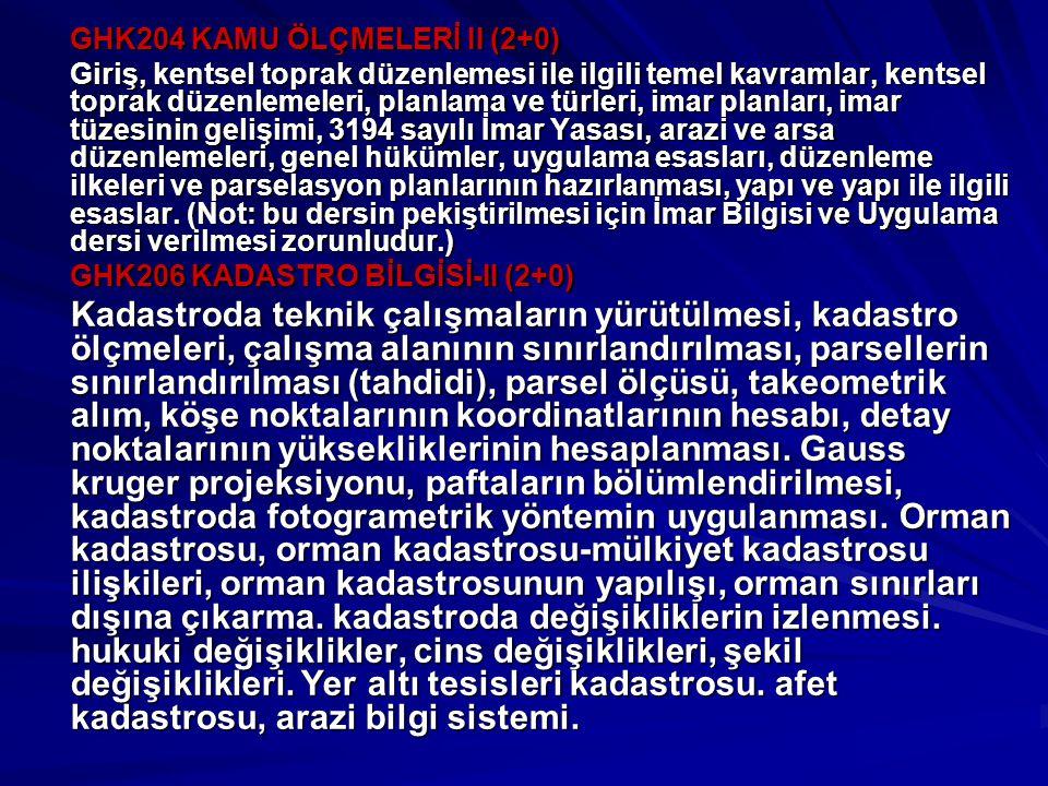GHK204 KAMU ÖLÇMELERİ II (2+0)