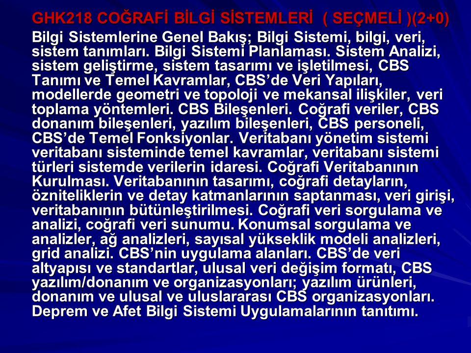 GHK218 COĞRAFİ BİLGİ SİSTEMLERİ ( SEÇMELİ )(2+0)
