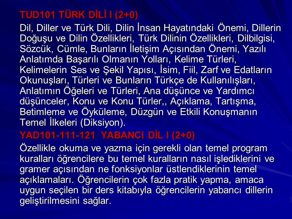 TUD101 TÜRK DİLİ I (2+0)