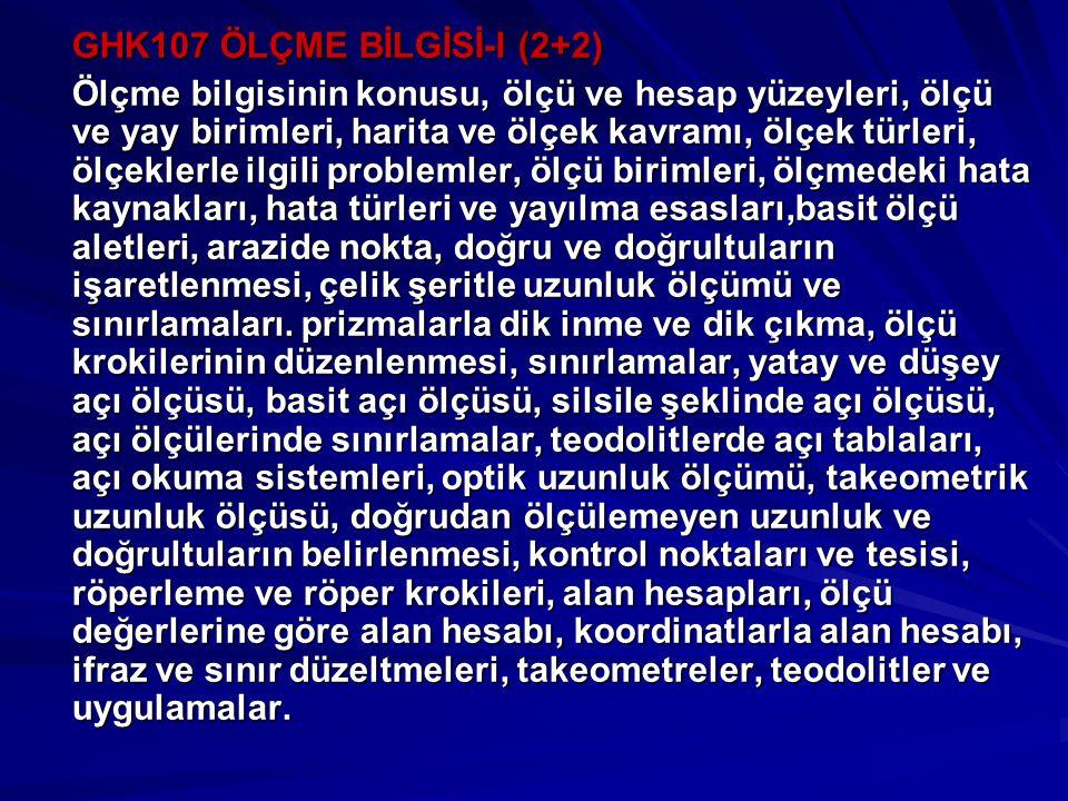 GHK107 ÖLÇME BİLGİSİ-I (2+2)