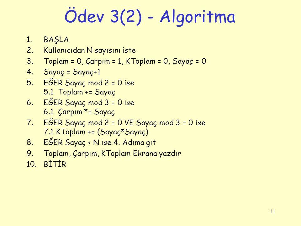 Ödev 3(2) - Algoritma BAŞLA Kullanıcıdan N sayısını iste