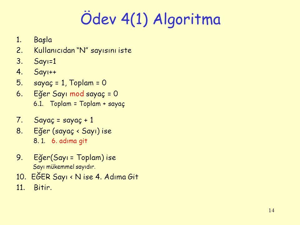 Ödev 4(1) Algoritma Başla Kullanıcıdan N sayısını iste Sayı=1 Sayı++