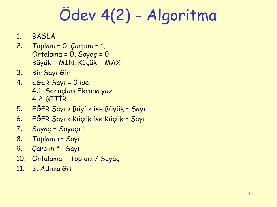 Ödev 4(2) - Algoritma BAŞLA
