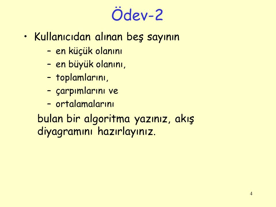 Ödev-2 Kullanıcıdan alınan beş sayının