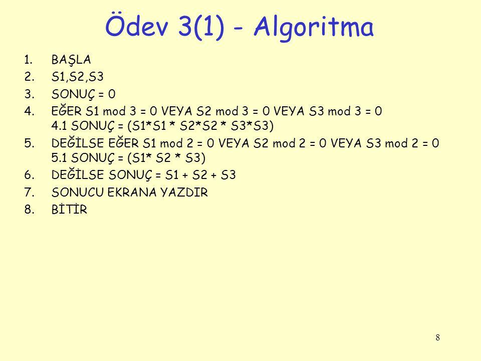 Ödev 3(1) - Algoritma BAŞLA S1,S2,S3 SONUÇ = 0