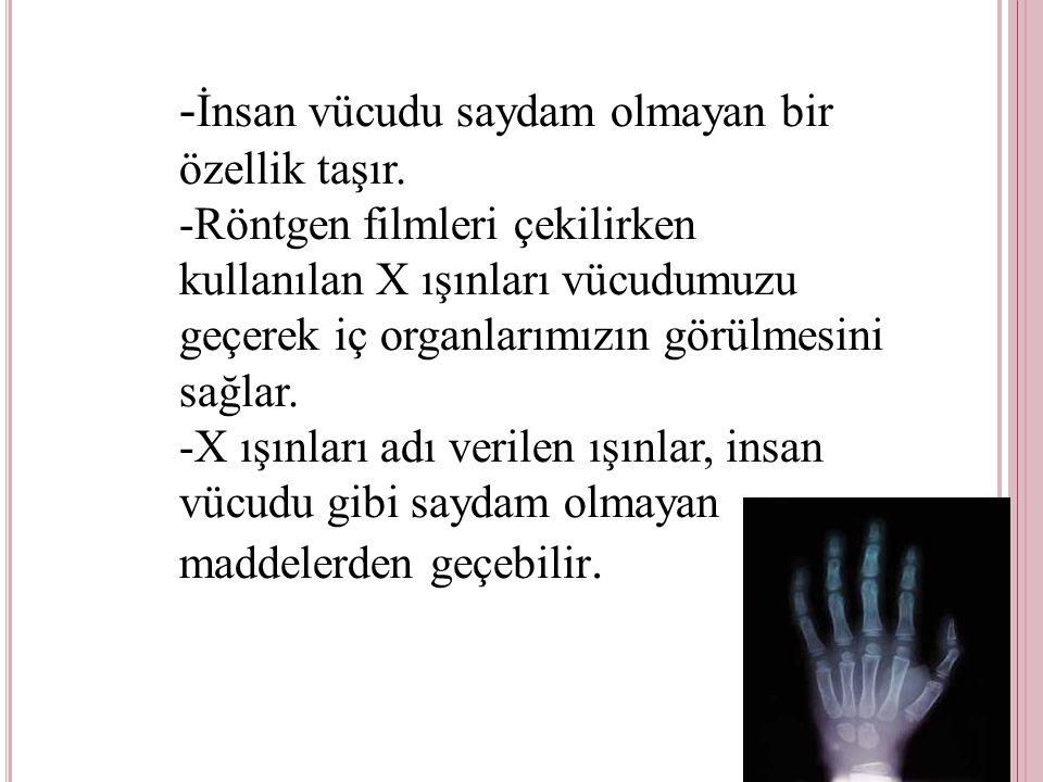 -İnsan vücudu saydam olmayan bir özellik taşır.