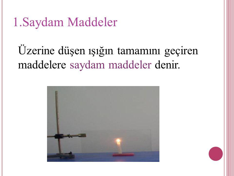 1.Saydam Maddeler Üzerine düşen ışığın tamamını geçiren maddelere saydam maddeler denir.