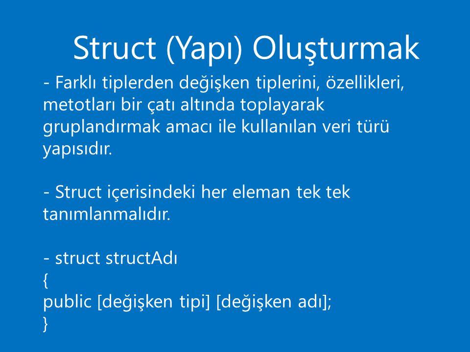 Struct (Yapı) Oluşturmak