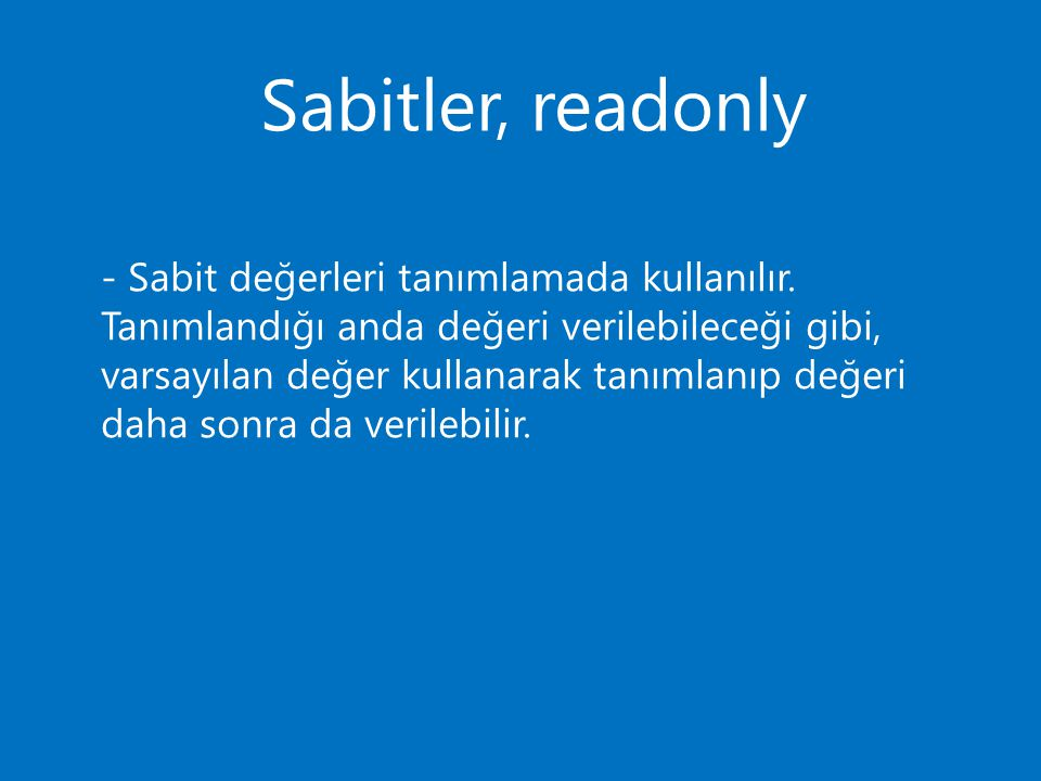 Sabitler, readonly