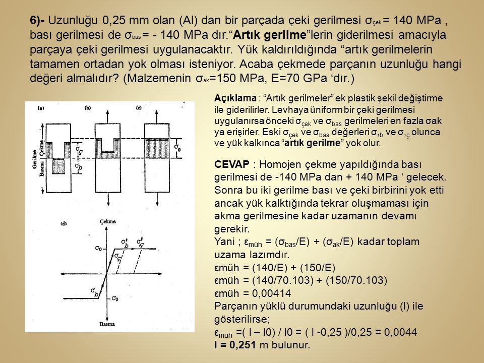 6)- Uzunluğu 0,25 mm olan (Al) dan bir parçada çeki gerilmesi σçek = 140 MPa , bası gerilmesi de σbas = - 140 MPa dır. Artık gerilme lerin giderilmesi amacıyla parçaya çeki gerilmesi uygulanacaktır. Yük kaldırıldığında artık gerilmelerin tamamen ortadan yok olması isteniyor. Acaba çekmede parçanın uzunluğu hangi değeri almalıdır (Malzemenin σak=150 MPa, E=70 GPa 'dır.)