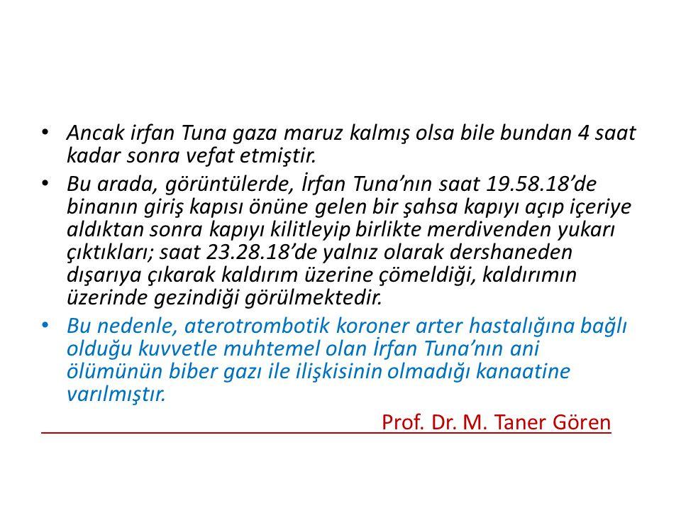 Ancak irfan Tuna gaza maruz kalmış olsa bile bundan 4 saat kadar sonra vefat etmiştir.