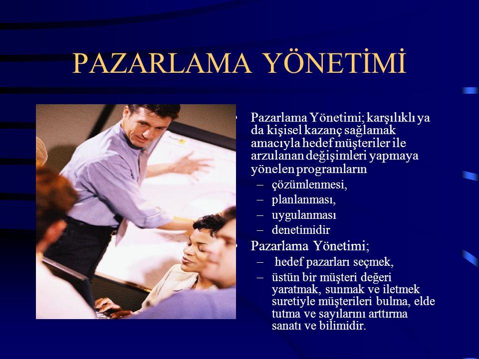 PAZARLAMA YÖNETİMİ Pazarlama Yönetimi;