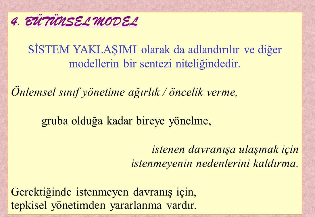 4. BÜTÜNSEL MODEL SİSTEM YAKLAŞIMI olarak da adlandırılır ve diğer modellerin bir sentezi niteliğindedir.