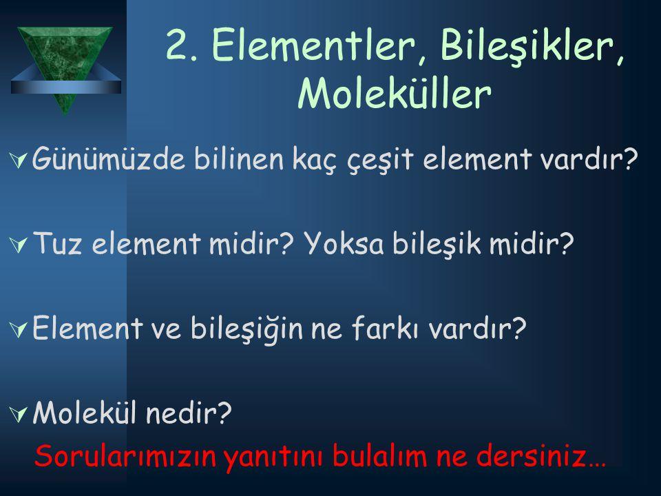 2. Elementler, Bileşikler, Moleküller