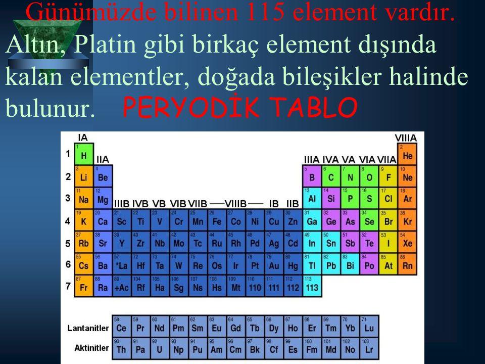 Günümüzde bilinen 115 element vardır