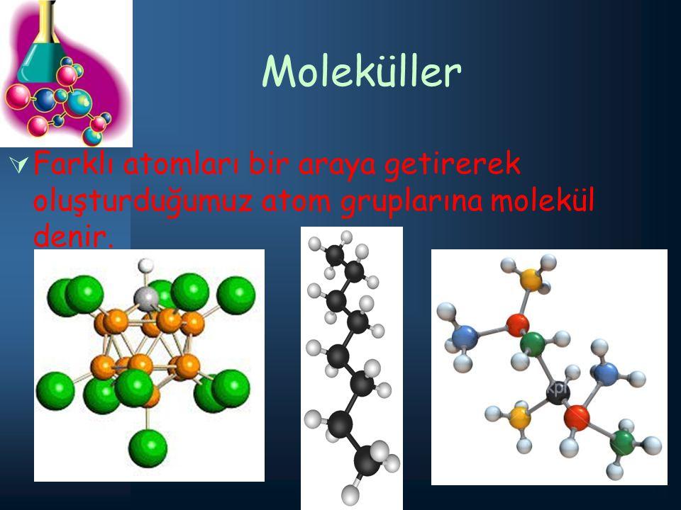 Moleküller Farklı atomları bir araya getirerek oluşturduğumuz atom gruplarına molekül denir.