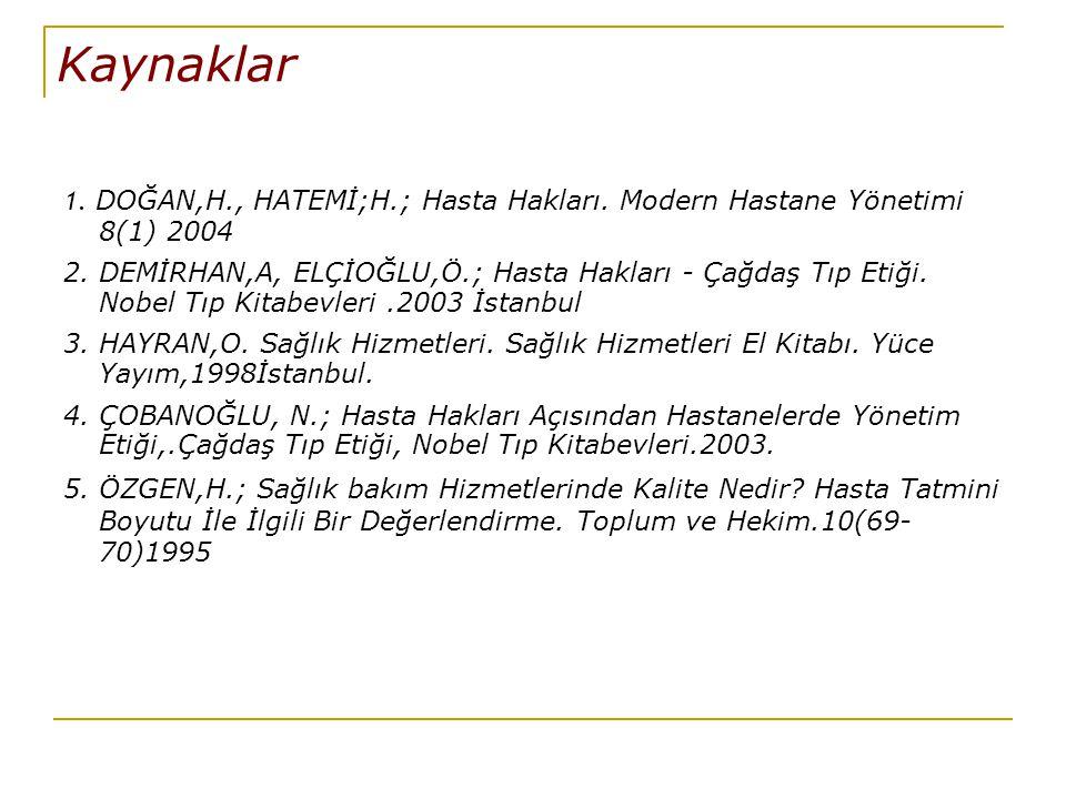 Kaynaklar 1. DOĞAN,H., HATEMİ;H.; Hasta Hakları. Modern Hastane Yönetimi 8(1) 2004.
