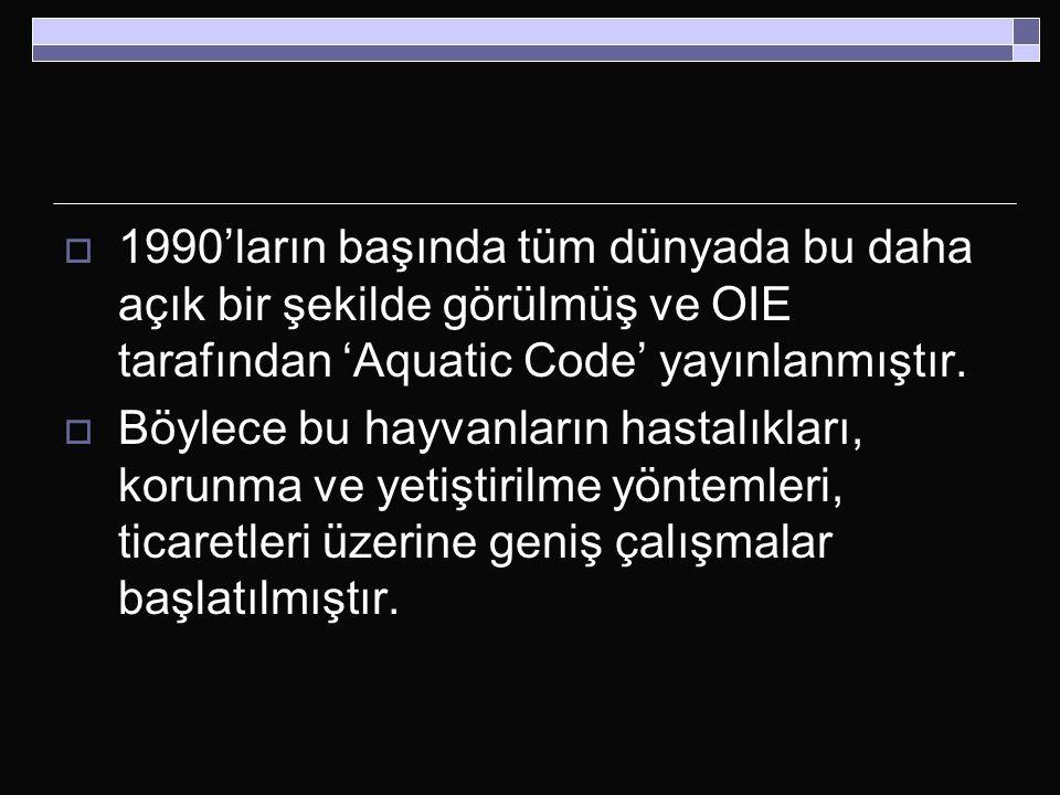 1990'ların başında tüm dünyada bu daha açık bir şekilde görülmüş ve OIE tarafından 'Aquatic Code' yayınlanmıştır.
