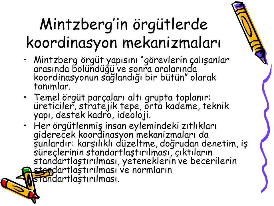 Mintzberg'in örgütlerde koordinasyon mekanizmaları