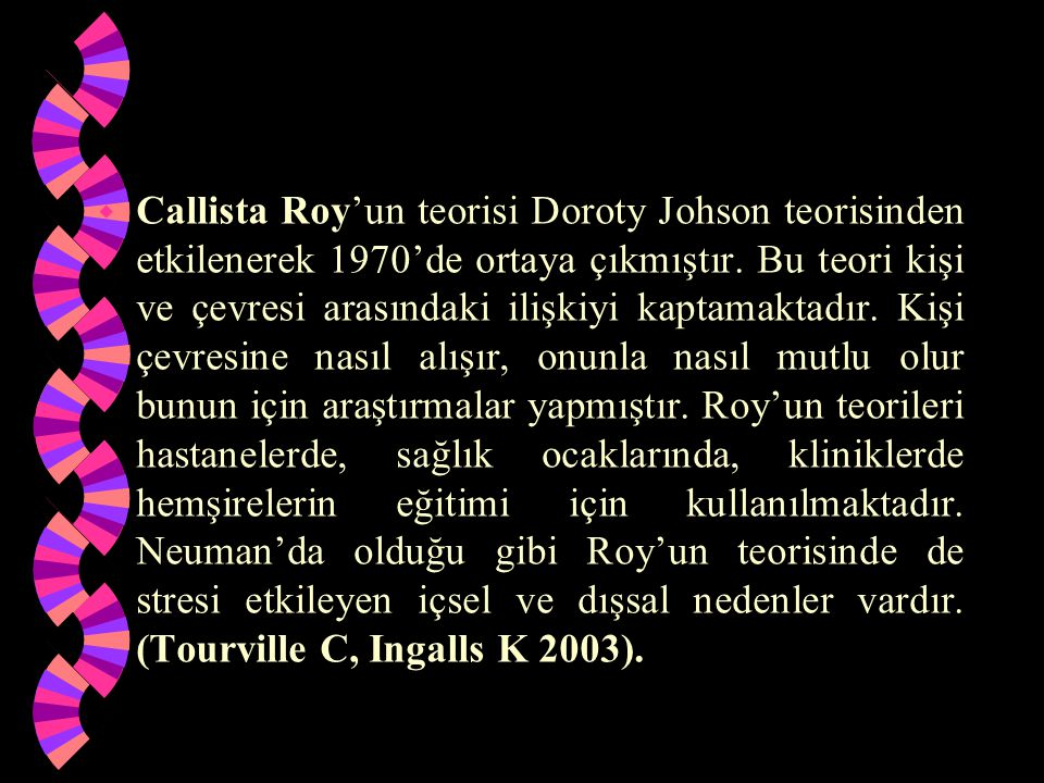 Callista Roy'un teorisi Doroty Johson teorisinden etkilenerek 1970'de ortaya çıkmıştır.
