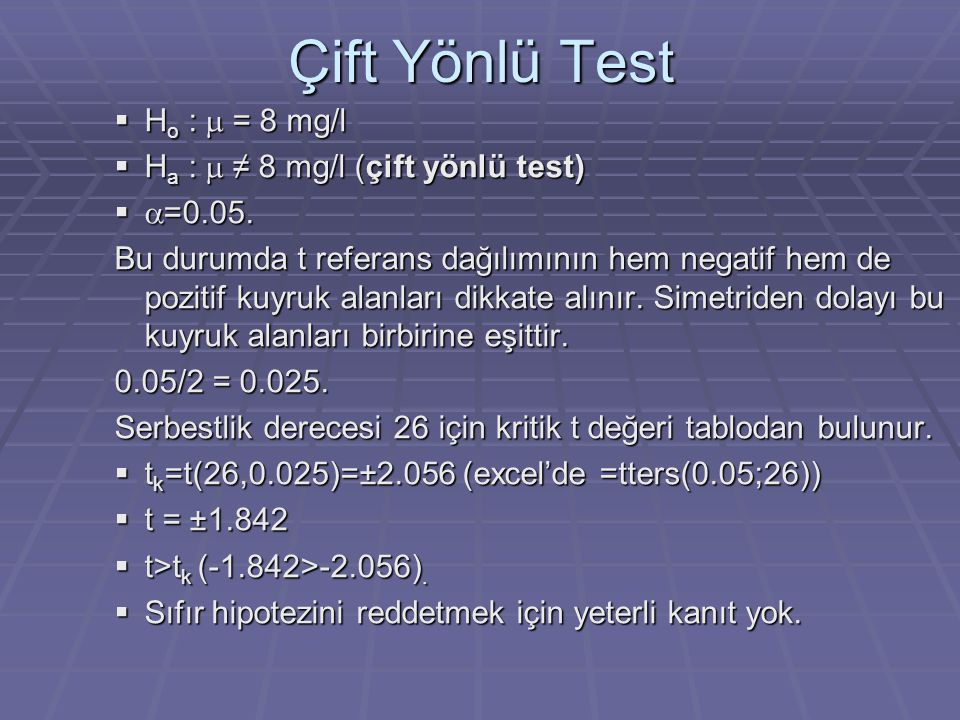 Çift Yönlü Test Ho : m = 8 mg/l Ha : m ≠ 8 mg/l (çift yönlü test)