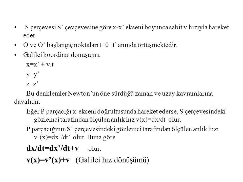 v(x)=v'(x)+v (Galilei hız dönüşümü)