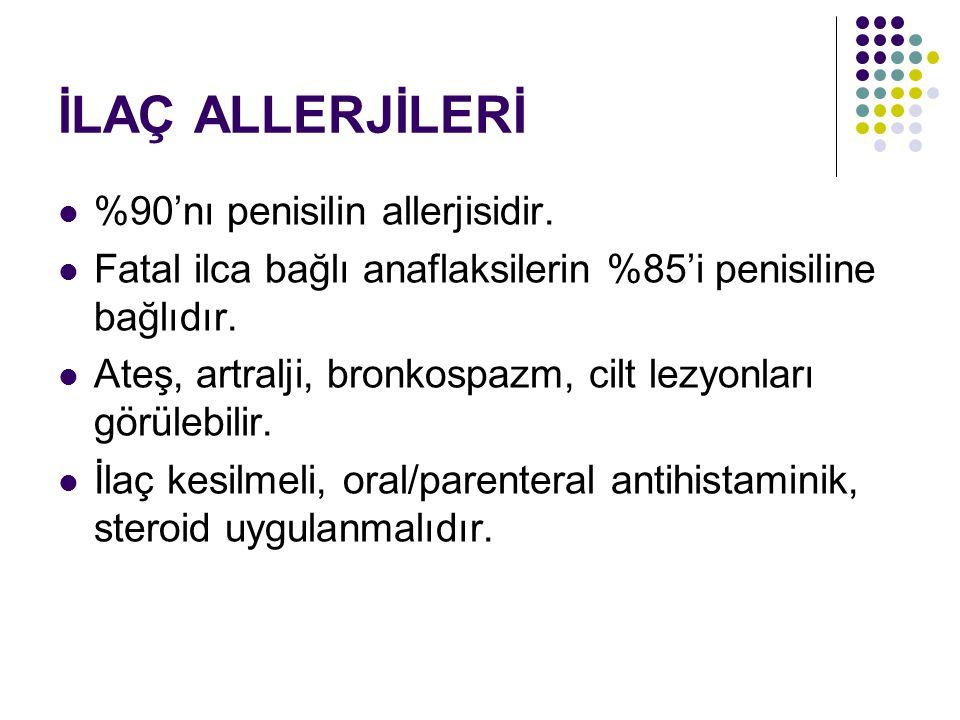 İLAÇ ALLERJİLERİ %90'nı penisilin allerjisidir.