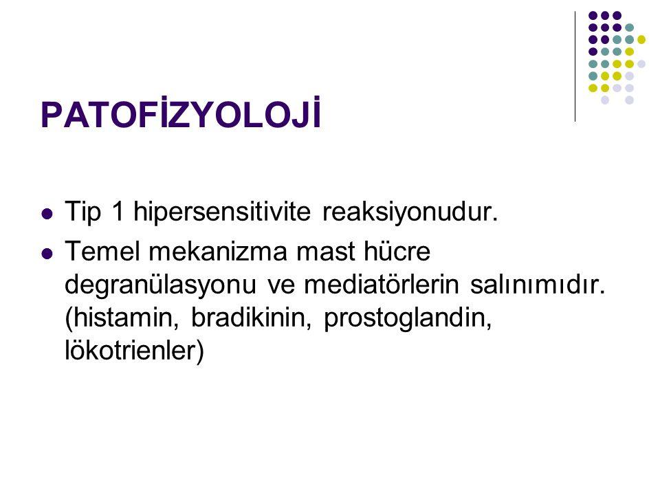 PATOFİZYOLOJİ Tip 1 hipersensitivite reaksiyonudur.