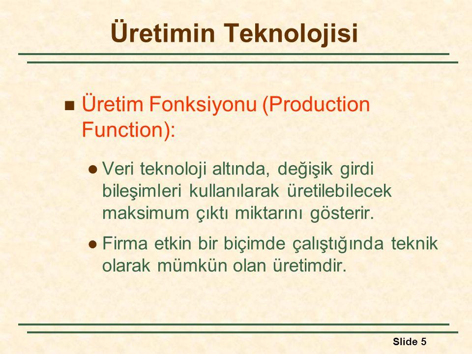 Üretimin Teknolojisi Üretim Fonksiyonu (Production Function):