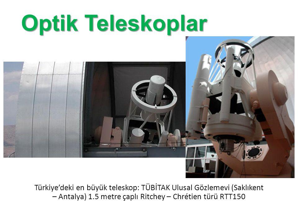Optik Teleskoplar Türkiye'deki en büyük teleskop: TÜBİTAK Ulusal Gözlemevi (Saklıkent – Antalya) 1.5 metre çaplı Ritchey – Chrétien türü RTT150.