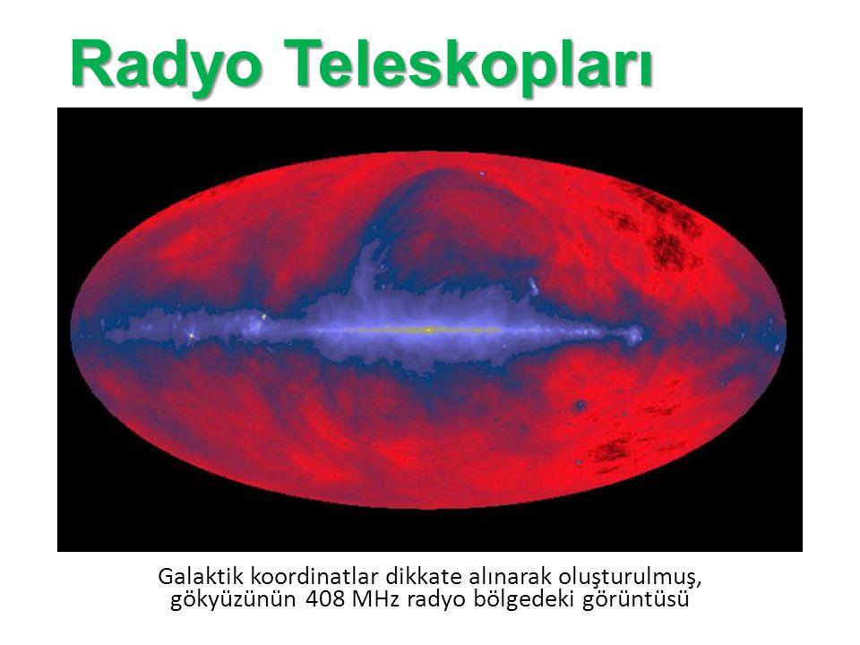 Radyo Teleskopları Galaktik koordinatlar dikkate alınarak oluşturulmuş, gökyüzünün 408 MHz radyo bölgedeki görüntüsü.