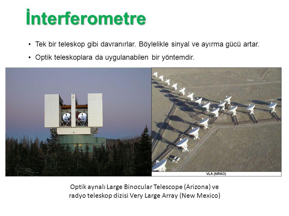 İnterferometre Tek bir teleskop gibi davranırlar. Böylelikle sinyal ve ayırma gücü artar. Optik teleskoplara da uygulanabilen bir yöntemdir.
