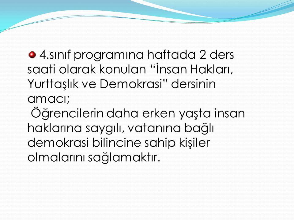 4.sınıf programına haftada 2 ders saati olarak konulan İnsan Hakları, Yurttaşlık ve Demokrasi dersinin amacı;