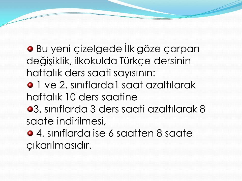 Bu yeni çizelgede İlk göze çarpan değişiklik, ilkokulda Türkçe dersinin haftalık ders saati sayısının: