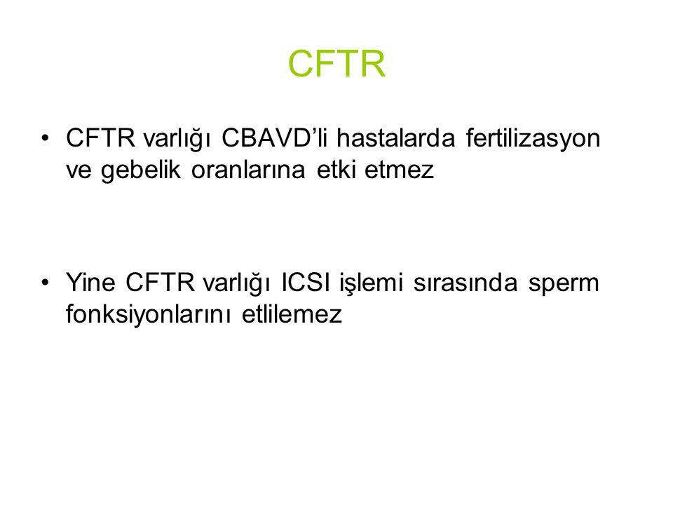 CFTR CFTR varlığı CBAVD'li hastalarda fertilizasyon ve gebelik oranlarına etki etmez.