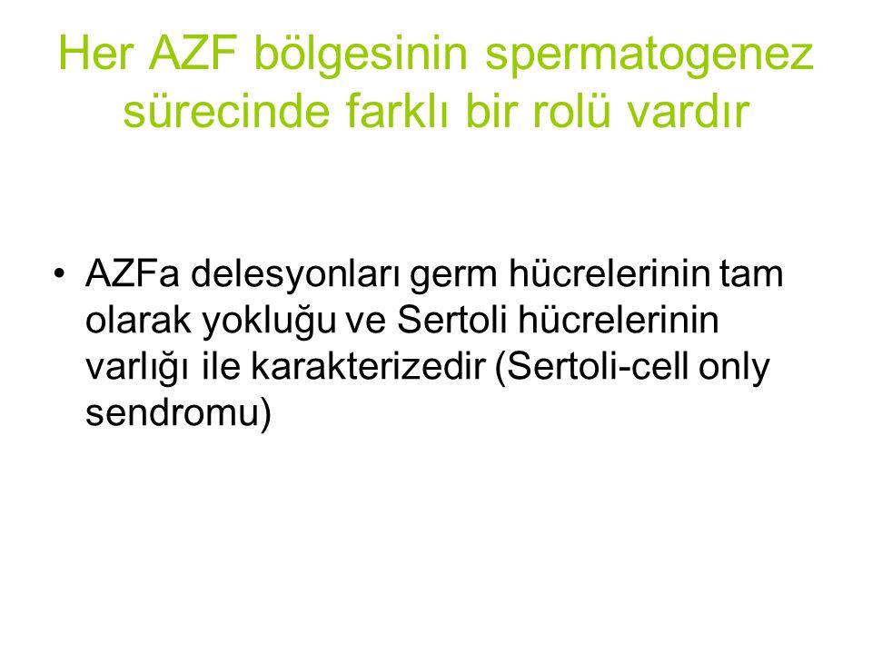 Her AZF bölgesinin spermatogenez sürecinde farklı bir rolü vardır