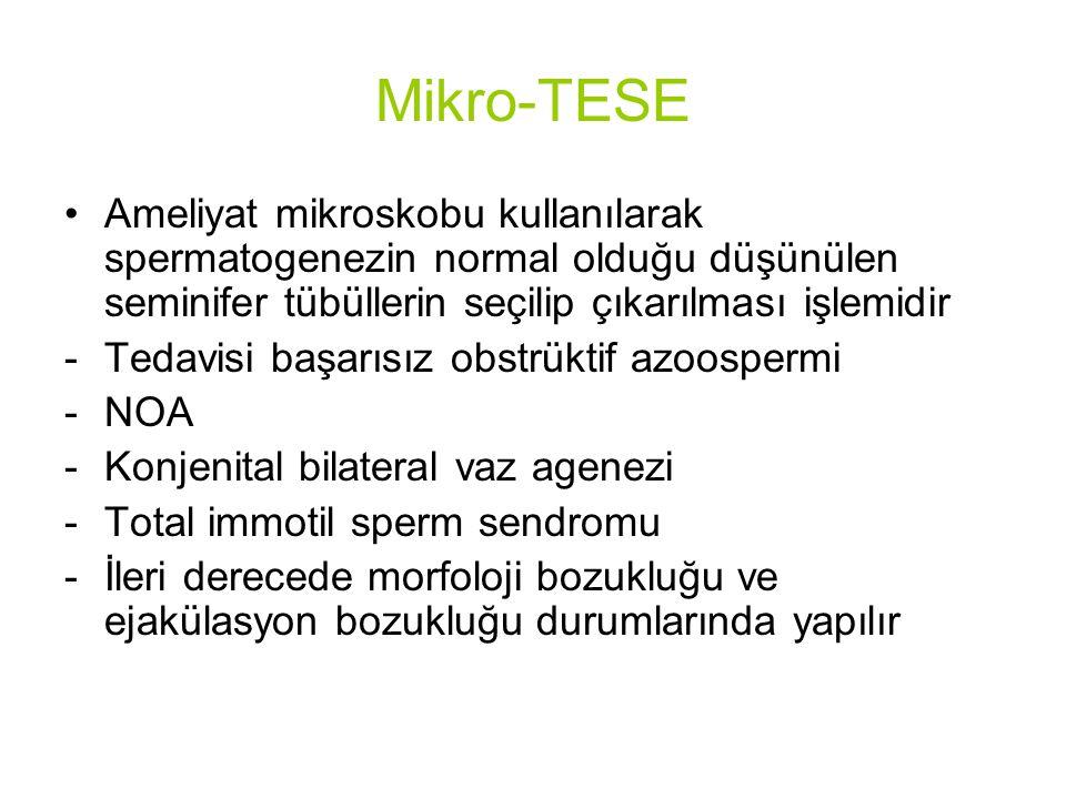 Mikro-TESE Ameliyat mikroskobu kullanılarak spermatogenezin normal olduğu düşünülen seminifer tübüllerin seçilip çıkarılması işlemidir.