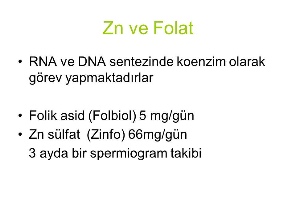 Zn ve Folat RNA ve DNA sentezinde koenzim olarak görev yapmaktadırlar