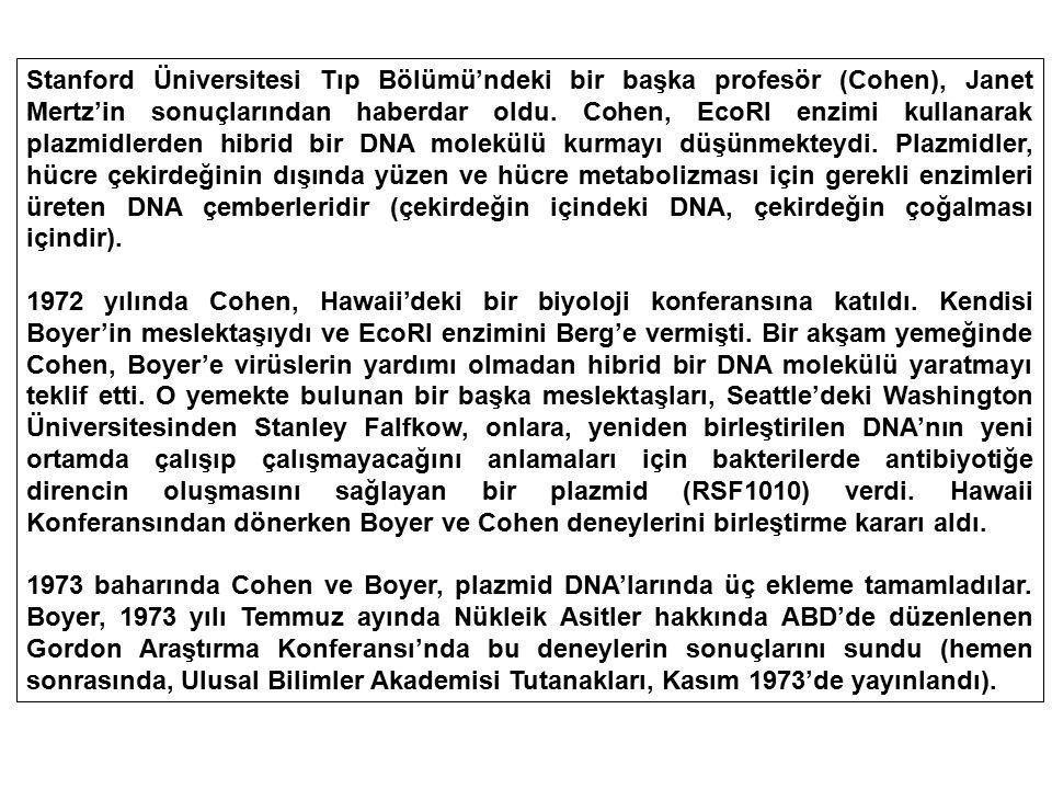 Stanford Üniversitesi Tıp Bölümü'ndeki bir başka profesör (Cohen), Janet Mertz'in sonuçlarından haberdar oldu. Cohen, EcoRI enzimi kullanarak plazmidlerden hibrid bir DNA molekülü kurmayı düşünmekteydi. Plazmidler, hücre çekirdeğinin dışında yüzen ve hücre metabolizması için gerekli enzimleri üreten DNA çemberleridir (çekirdeğin içindeki DNA, çekirdeğin çoğalması içindir).