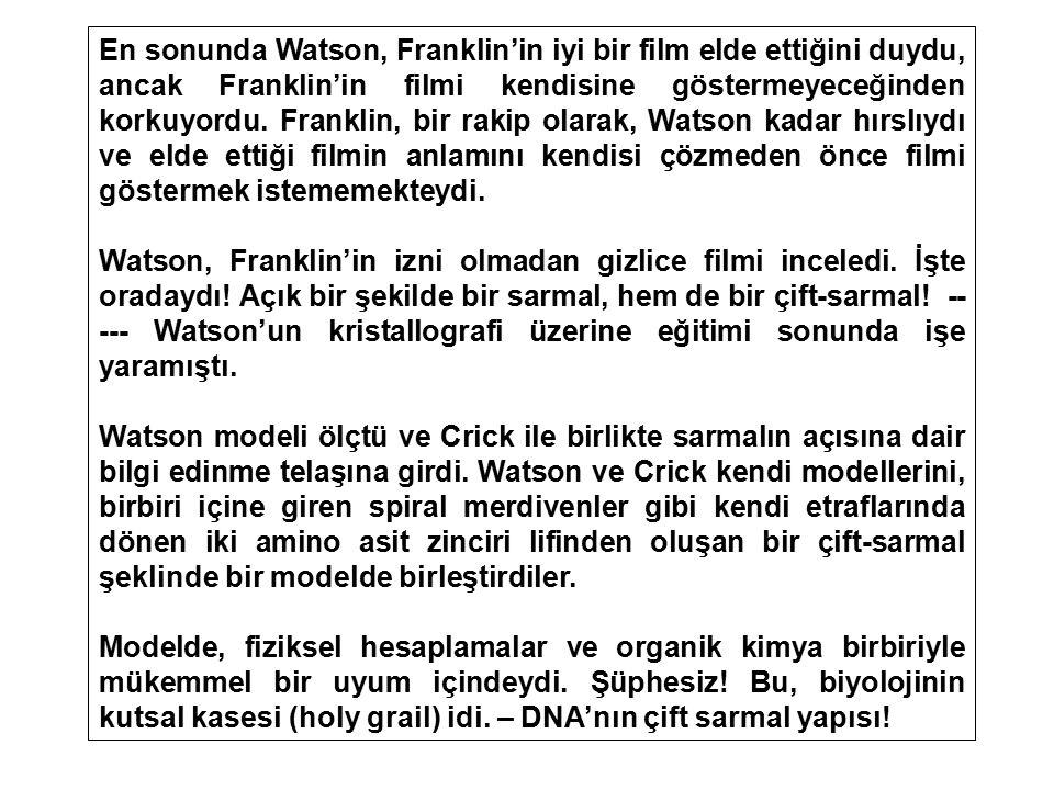 En sonunda Watson, Franklin'in iyi bir film elde ettiğini duydu, ancak Franklin'in filmi kendisine göstermeyeceğinden korkuyordu. Franklin, bir rakip olarak, Watson kadar hırslıydı ve elde ettiği filmin anlamını kendisi çözmeden önce filmi göstermek istememekteydi.