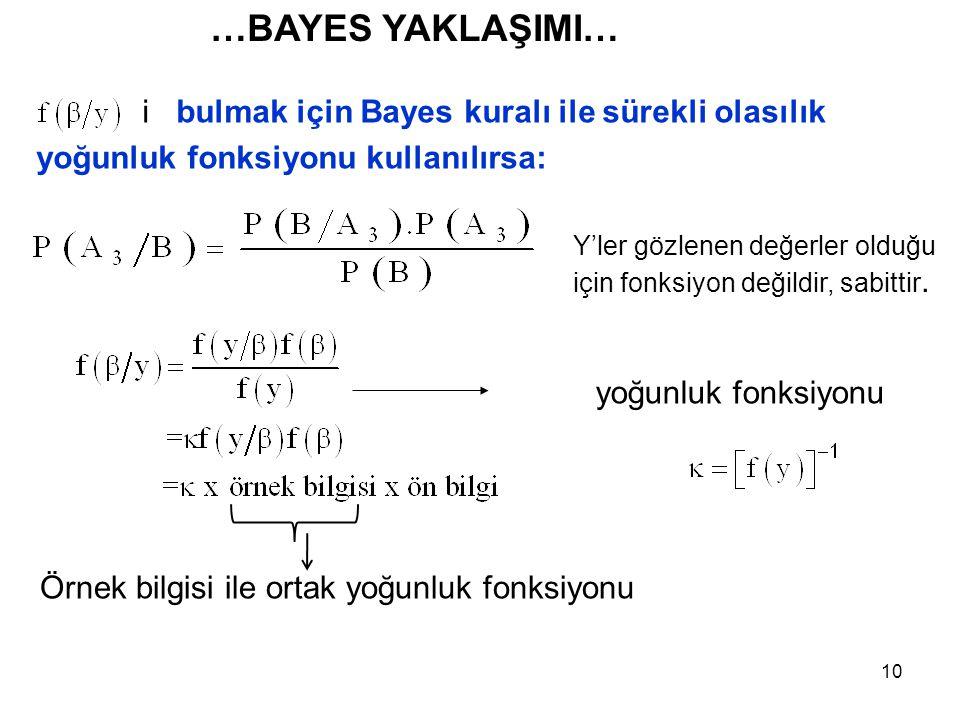…BAYES YAKLAŞIMI… i bulmak için Bayes kuralı ile sürekli olasılık yoğunluk fonksiyonu kullanılırsa: