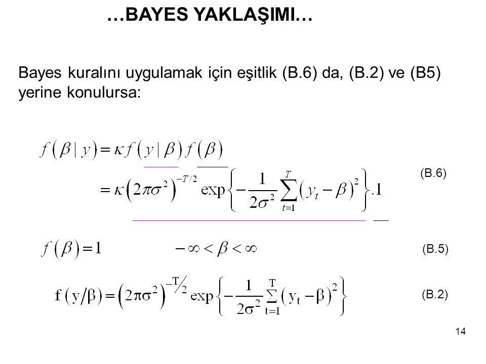 …BAYES YAKLAŞIMI… Bayes kuralını uygulamak için eşitlik (B.6) da, (B.2) ve (B5) yerine konulursa: (B.6)