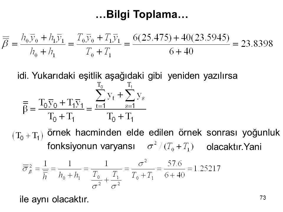 …Bilgi Toplama… idi. Yukarıdaki eşitlik aşağıdaki gibi yeniden yazılırsa. örnek hacminden elde edilen örnek sonrası yoğunluk fonksiyonun varyansı.
