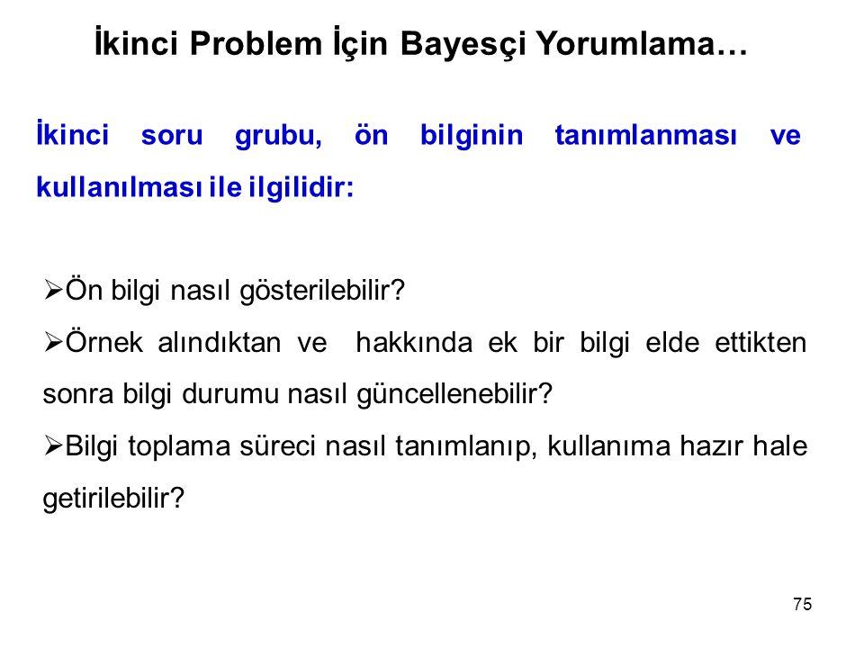 İkinci Problem İçin Bayesçi Yorumlama…