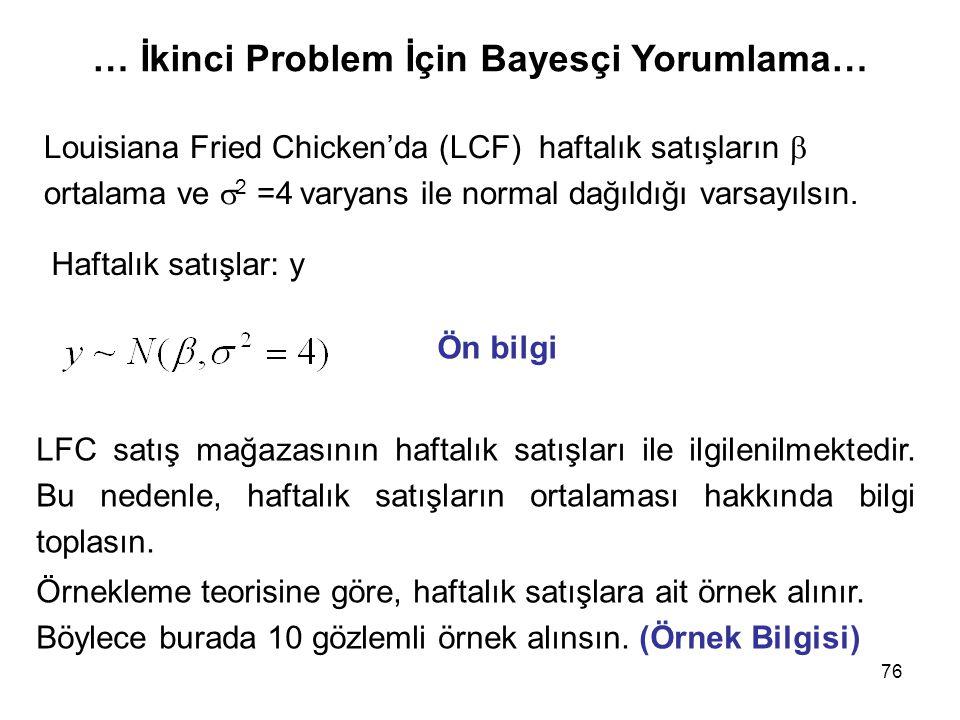 … İkinci Problem İçin Bayesçi Yorumlama…