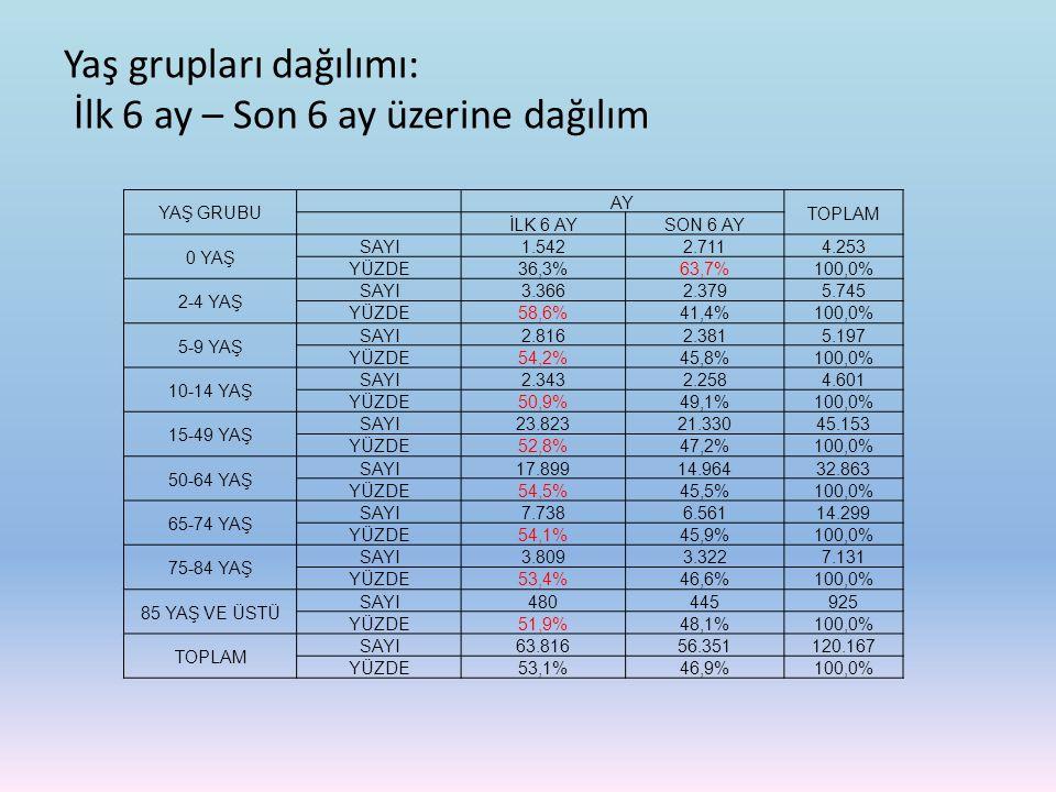 Yaş grupları dağılımı: İlk 6 ay – Son 6 ay üzerine dağılım